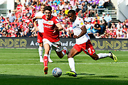 Callum O'Dowda (11) of Bristol City closes in on Tendayi Darikwa (27) of Nottingham Forset during the EFL Sky Bet Championship match between Bristol City and Nottingham Forest at Ashton Gate, Bristol, England on 4 August 2018. Picture by Graham Hunt.