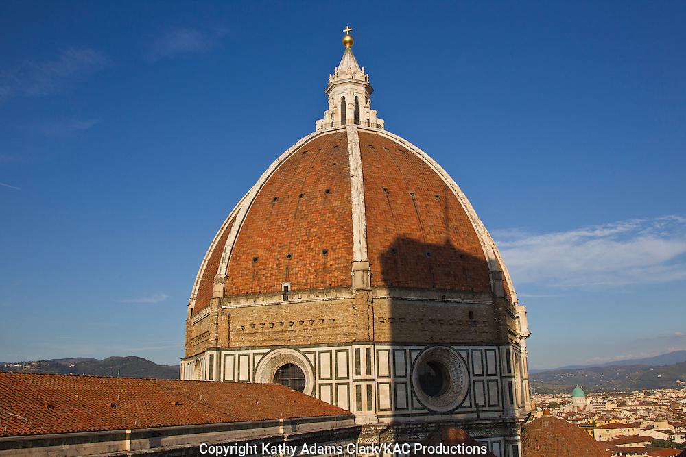 view of the Duomo at the Basilica Santa Maria del Fiore, in Florence, Firenze, Italy, from the belltower.