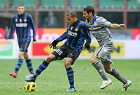 """jonathan biabiany inter e massimo gobbi parma<br /> Milano 28/11/2010 Stadio """"Giuseppe Meazza""""<br /> Campionato Italiano Serie A 2010/2011<br /> Inter vs Parma<br /> Foto Luca Pagliaricci Insidefoto"""