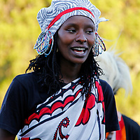Africa, Kenya, Nanyuki. Kikuyu dancer at the Mt. Kenya Safari Club.
