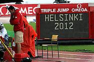 30.6.2012, Olympiastadion - Olympic Stadium, Helsinki, Finland..European Athletics Championship - Yleisurheilun EM-kisat..Tulostaulu - Scoreboard.