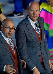 05-08-2016 BRA: Olympic Games day -1, Rio de Janeiro<br /> Openingsceremonie van de Olympische Spelen in Rio / dans, vuurwerk, muziek, show en een boodschap aan de wereld / Nederlandse atleten komen het   stadion binnen tijdens de openingsceremonie van de Olympische Spelen van Rio. Maurits Hendriks en John van Vliet