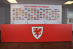 BARRY, WALES - Thursday, October 3, 2019: A press conference stage set-up for Wales to announce the squad for the forthcoming UEFA Euro 2020 Qualifying Group E qualifying matches against Slovakia and Croatia. (Pic by David Rawcliffe/Propaganda)