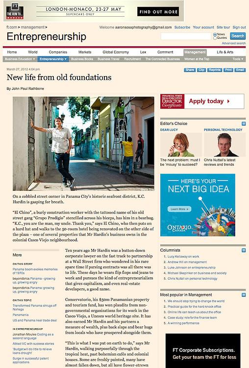 FINANCIAL TIMES - UK <br /> Portraits of KC Hardin for &quot;Financial TImes&quot; UK / Retratos de KC Hardin para &quot;Financial Times&quot; UK<br /> Photography by Aaron Sosa - 2012