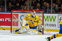 KELOWNA, BC - DECEMBER 18:  Samuel Ersson #30 of Team Sweden defends the net against the Team Russia at Prospera Place on December 18, 2018 in Kelowna, Canada. (Photo by Marissa Baecker/Getty Images)***Local Caption***