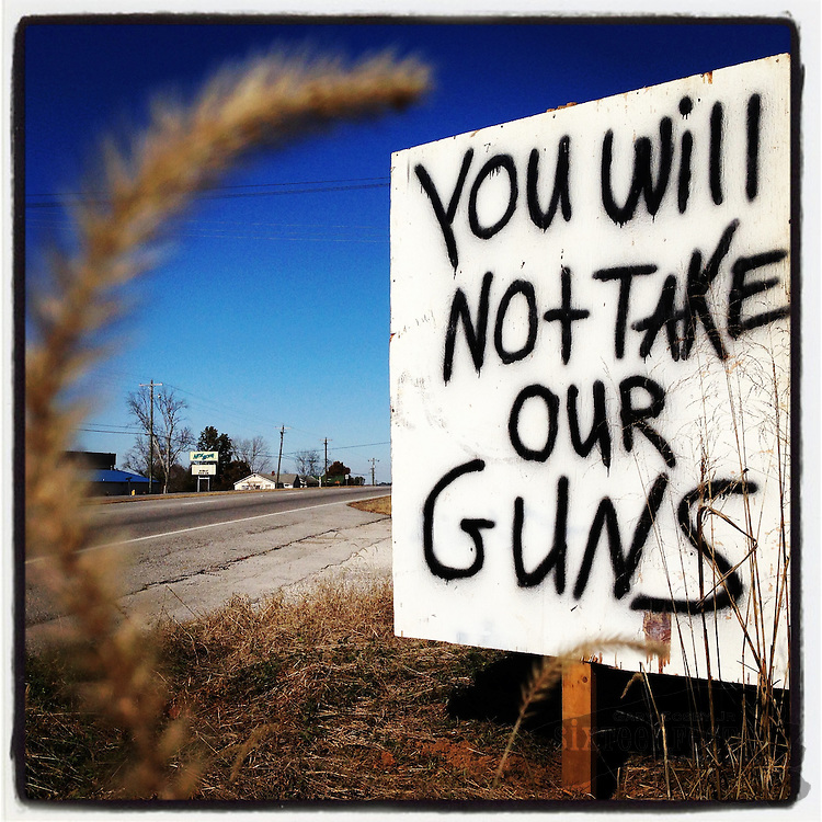 "Gary Cosby Jr.  iPhone photographs  A handmade sign on an Alabama Highway proclaims ""You Will Not Take Our Guns."""