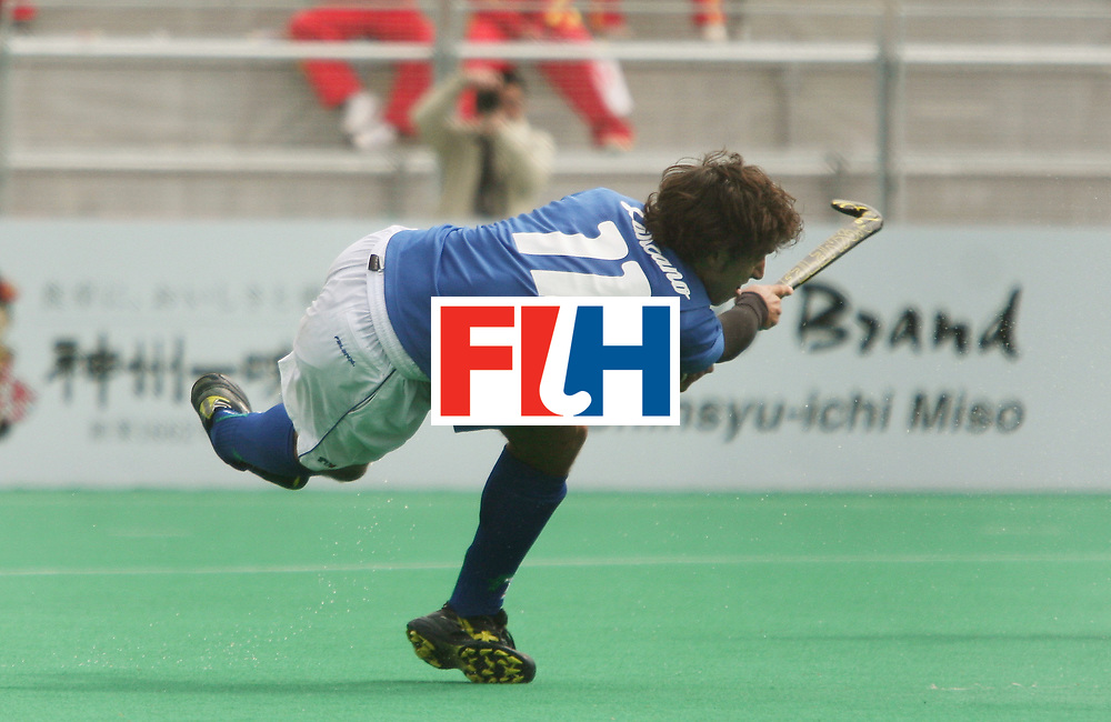 Kakamigahara (Japan): Massimo Laznzano of Italy who scored two goals against Switzerland on the final day of the Olympic Hockey Qualifier at Gifu Perfectural Green Stadium at Kakamigahara on 13 April 2008.Italy beat Switzerland 3-2 to get the fifth place.<br />   Photo: GNN/ Vino John