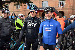 March 10, 2019 - Siena, Italia - Gian Mattia D'Alberto / lapresse.10-03-2019 Siena.Sport.Gara ciclistica Gran Fondo Strade Bianche 2019 .nella foto: Davide Cassani, Gianni Moscon..Gian Mattia D'Alberto  / lapresse.2019-03-10 Siena.Gran Fondo Strade Bianche 2019 .in the photo:Davide Cassani, Gianni Moscon. (Credit Image: © Gian Mattia D'Alberto/Lapresse via ZUMA Press)
