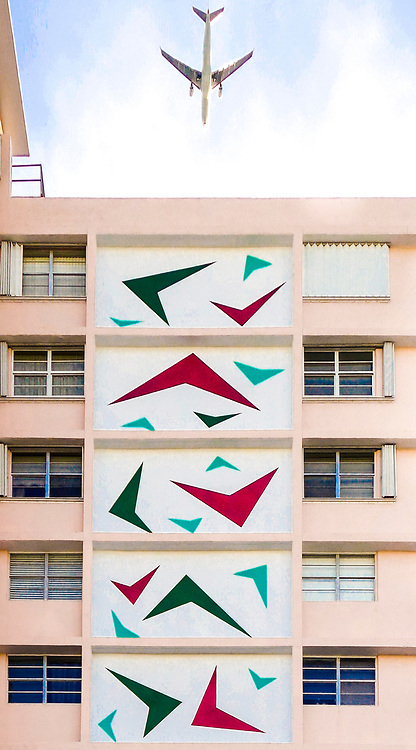 Jet-age, delta wing or boomerang shapes on a Miami Modern apartment building in Miami Beach designed in 1969 by Gene E. Baylis and Barry Sugerman.