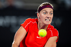 January 10, 2019 - Sydney, NSW, U.S. - SYDNEY, AUSTRALIA - JANUARY 10: Petra Kvitova (CZE) hits a backhand at The Sydney International Tennis in the match between Angelique Kerber (GER) and Petra Kvitova (CZE) on January 10, 2018, at Sydney Olympic Park Tennis Centre in Homebush, Australia. (Photo by Speed Media/Icon Sportswire) (Credit Image: © Steven Markham/Icon SMI via ZUMA Press)