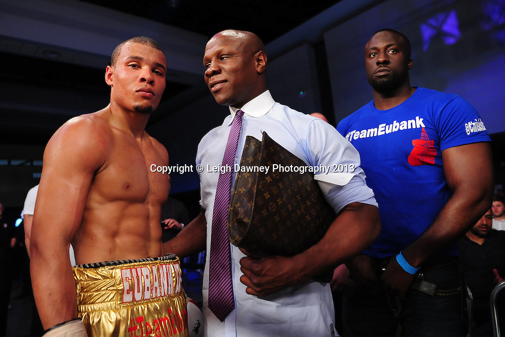Chris Eubank Jnr pictured with his Father Chris Eubank Middleweight contest at Glow, Bluewater, Dartford, Kent, UK on 8th June 2013. Promoter: Hennessy Sports. Mandatory Credit: © Leigh Dawney