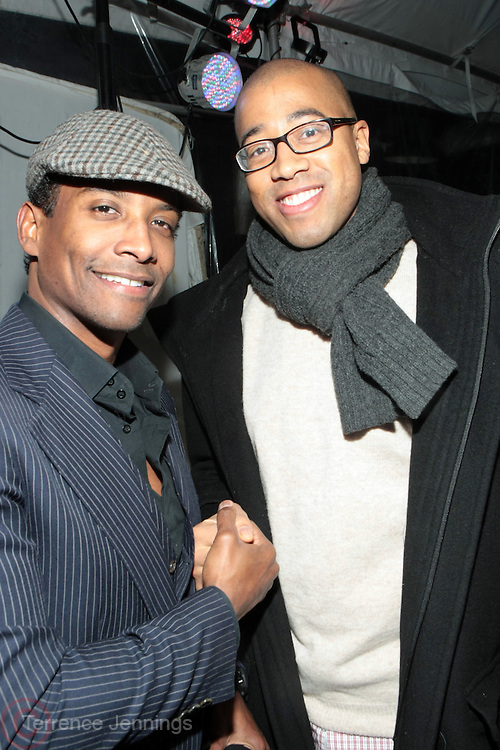 Park City, Utah- January 22:  (L-R) Jay Norris and HBO Executive Marvin Scott at the Official HBO Sundance Party ' Love, Peace & Hair Grease held at the Blue Iguana Restaurant on January 22, 2012 in Park City, Utah. Photo Credit: Terrence Jennings