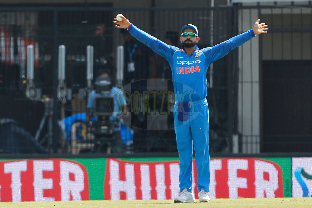 Virat Kohli captain of India reacts during the 3rd One Day International between India and Australia held at the Holkar Stadium in Indore on the 24th  September 2017<br /> <br /> Photo by Deepak Malik / BCCI / SPORTZPICS