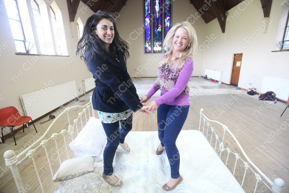 Madeline Arkinsz and Zoe Halpin pictured for the Ennis Musical Society practice for Sound Of Music in Colaiste Mhuire's Old Church on Sunday.<br /> Pic. Brian Arthur/ Press 22.