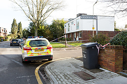 © Licensed to London News Pictures. 30/03/2016. London, UK. The police cordon and crime scene at the junction of Woodside Grange Road and Grange Way in North Finchley, Barnet, north London this morning. A young man died after being stabbed at the scene and collapsing yesterday afternoon.  Photo credit : Vickie Flores/LNP