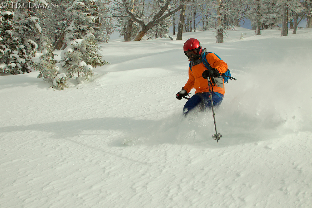 Russell Laman (age 12) backcountry skiing in the Teton Range at Teton Pass, Wyoming.<br />