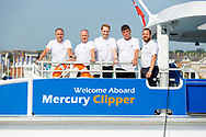 IMAGE PROVIDED FREE FOR EDITORIAL USE<br /> Captain Paul Hallas, Head of Fleet Operations (left) and his crew of the newest addition to London&rsquo;s river bus transport network, Mercury Clipper, pictured in East Cowes today as she begins a 200 nautical mile maiden journey to the Capital from the Isle of Wight. Joining the MBNA Thames Clippers fleet, Mercury Clipper, is the first of two new boats that will enter service in London this summer. Six members of crew &ndash; with over 80 years of combined experience between them &ndash; will carry out the 12 hour journey, at an average speed of 20 knots. <br />  <br /> A &pound;6.3 million investment in London&rsquo;s port and transport infrastructure, Mercury Clipper and Jupiter Clipper have been built at the Wight Shipyard Co Ltd on the Isle of Wight. The boats took 10 months to build, creating over 75 new jobs across the Isle of Wight and London, including the hiring of two dedicated apprentices and engagement with over 100 local suppliers from across the South of England.<br />  <br /> For more information, please visit www.mbnathamesclippers.com<br /> Picture date: Wednesday June 21, 2017.<br /> Photograph by Christopher Ison &copy;<br /> 07544044177<br /> chris@christopherison.com<br /> www.christopherison.com