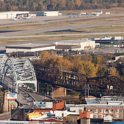 View of Kansas City's Broadway Bridge with Downtown Airport in background. Photo taken from Power and Light Building in downtown KCMO.