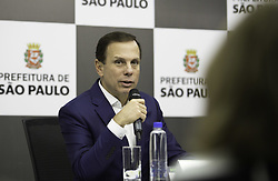 October 3, 2017 - SÃO PAULO, SP - 03.10.2017: DORIA DOA SALÁRIO DE OUTUBRO - Mayor João Doria during a press conference on Tuesday morning (03). The prefecture made the donation of the check referring to the salary of the month of October. (Credit Image: © Fotoarena via ZUMA Press)