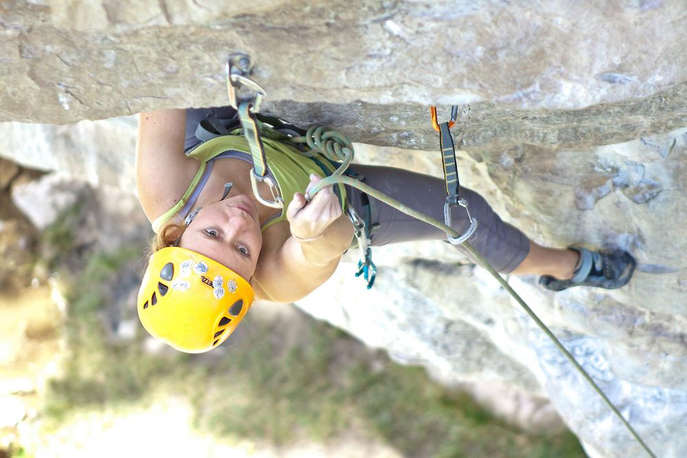 Rock Climbing - Ingrid on Nobody's Girl at Lake Louise