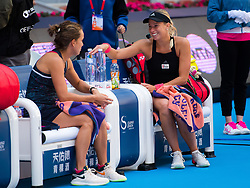 October 7, 2018 - Andrea Sestini Hlavackova & Barbora Strycova of the Czech Republic prepare for the trophy ceremony after the doubles final of the 2018 China Open WTA Premier Mandatory tennis tournament (Credit Image: © AFP7 via ZUMA Wire)