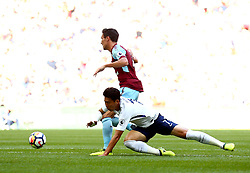 Son Heung-Min of Tottenham Hotspur is brought down by Jack Cork of Burnley - Mandatory by-line: Robbie Stephenson/JMP - 27/08/2017 - FOOTBALL - Wembley Stadium - London, England - Tottenham Hotspur v Burnley - Premier League