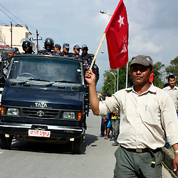 Nepali riot police confront Maoist protesters during civil disturbances, Kathmandu, Nepal, 2009