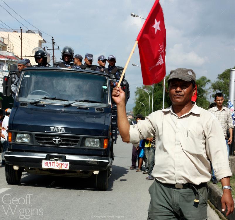 Nepali riot police confront Maoist protesters during civil disturbances, Kathmandu, Nepal, 2009