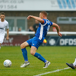 Salford's forward Adam Rooney fires in his first goal during the National League match between Dover Athletic FC and Salford City FC at Crabble Stadium, Kent on 06 October 2018. Photo by Matt Bristow.