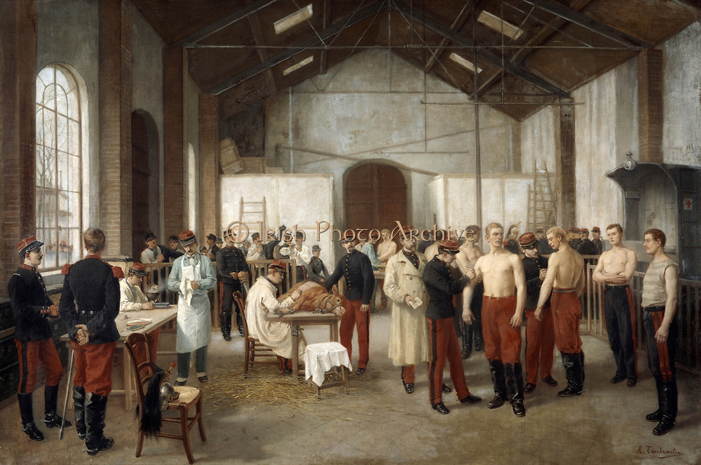Vaccination:  c1895. Alfred Touchemolin (1829-1907) French painter. French army recruits being vaccinated with Cowpox to protect them from the more virulent infection, Smallpox. Infection being transferred from the heffer  lying on the table.