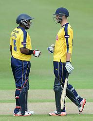 Michael Carberry of Hampshire (left) and James Vince  - Photo mandatory by-line: Dougie Allward/JMP - Mobile: 07966 386802 - 14/07/2015 - SPORT - Cricket - Cheltenham - Cheltenham College - Natwest T20 Blast