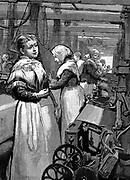 Women operatives tending power looms in a Yorkshire woollen mill. Wood engraving, 1883.
