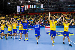 Players of Celje after the handball match between RK Celje Pivovarna Lasko (SLO) and MKB Veszprem KS (HUN) in 7th Round of Group B of EHF Champions League 2012/13 on December 1, 2012 in Arena Zlatorog, Celje, Slovenia. Veszprem defeated Celje PL 24-19. (Photo By Vid Ponikvar / Sportida)