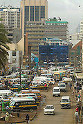 Africa. Kenya. Nairobi city centre. Latema Road..Busy Traffic and taxis..CD0010