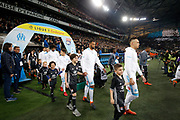 Players entrance before the French Championship Ligue 1 football match between Olympique de Marseille and Olympique Lyonnais on march 18, 2018 at Orange Velodrome stadium in Marseille, France - Photo Philippe Laurenson / ProSportsImages / DPPI