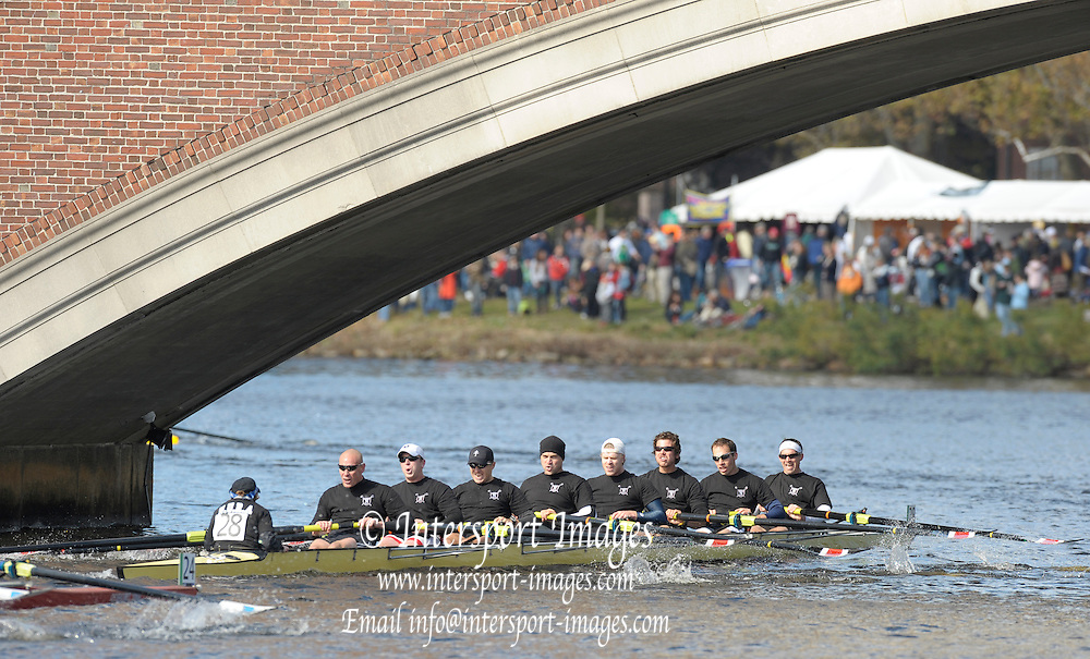Cambridge,  Northeastern University Rowing Alumni, Alumni Men's Eights appraoching John  Weeks bridge during the  [HOCR]  Head on the Charles River, Cambridge/Boston,   Saturday  17/10/2009  [Mandatory Credit Peter Spurrier Intersport Images],.