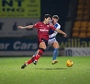 30th December 2017, McDiarmid Park, Perth, Scotland; Scottish Premiership football, St Johnstone versus Dundee; Dundee's Julen Etxabeguren battles for the ball with St Johnstone's Liam Gordon