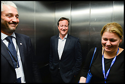 Image ©Licensed to i-Images Picture Agency. 28/09/2014. Birmingham, United Kingdom.  Prime Minister David Cameron in a lift after giving a speech at a conhome event on  Day one of the  Conservative Party Conference.Picture by Andrew Parsons / i-Images