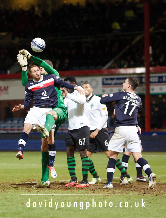 Dundee's Martin Boyle challenges Celtic keeper Fraser Forster  - Dundee v Celtic, Clydesdale Bank Scottish Premier League at Dens Park, Dundee.. - © David Young - www.davidyoungphoto.co.uk - email: davidyoungphoto@gmail.com