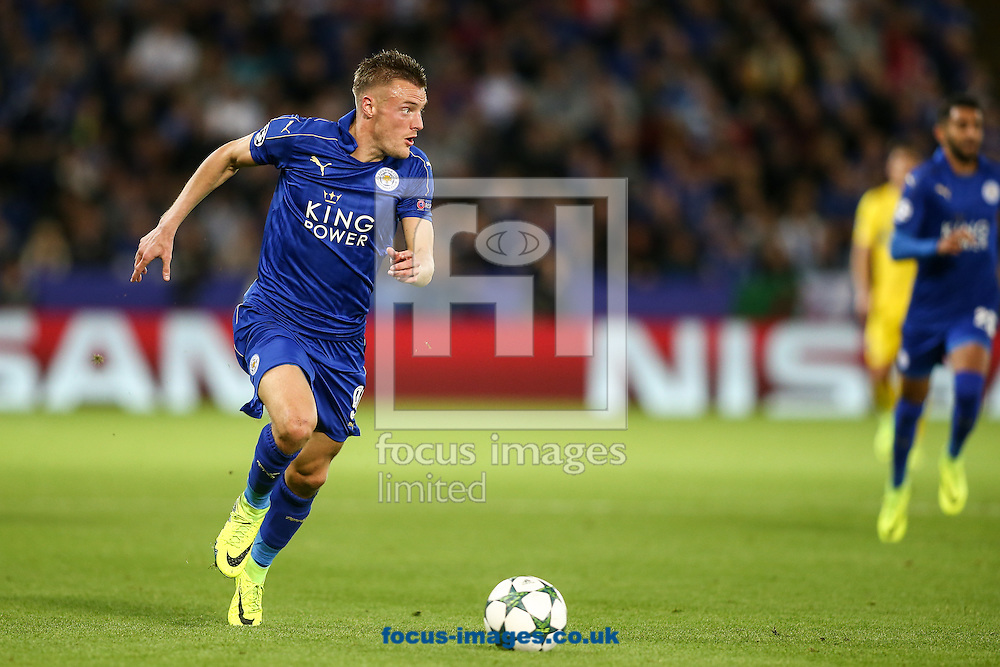 Jamie Vardy of Leicester City during the UEFA Champions League match at the King Power Stadium, Leicester<br /> Picture by Andy Kearns/Focus Images Ltd 0781 864 4264<br /> 27/09/2016