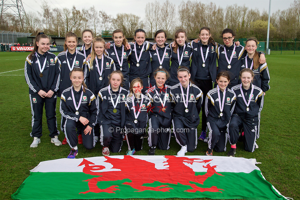 NEWPORT, WALES - Monday, April 4, 2016: Wales 2002 squad with their medals on day four of the Bob Docherty International Tournament 2016 at Dragon Park. (Pic by David Rawcliffe/Propaganda)
