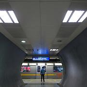 an underpass at a metro station. New Delhi, Augut 2008