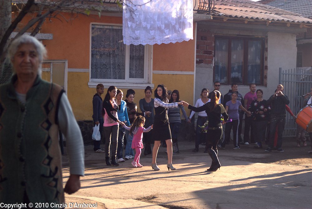 Second day of a roma gypsy wedding. The spouse is taken from her home and the loss of her virginity is celebrated by the whole village. Kjustendil, Bulgaria