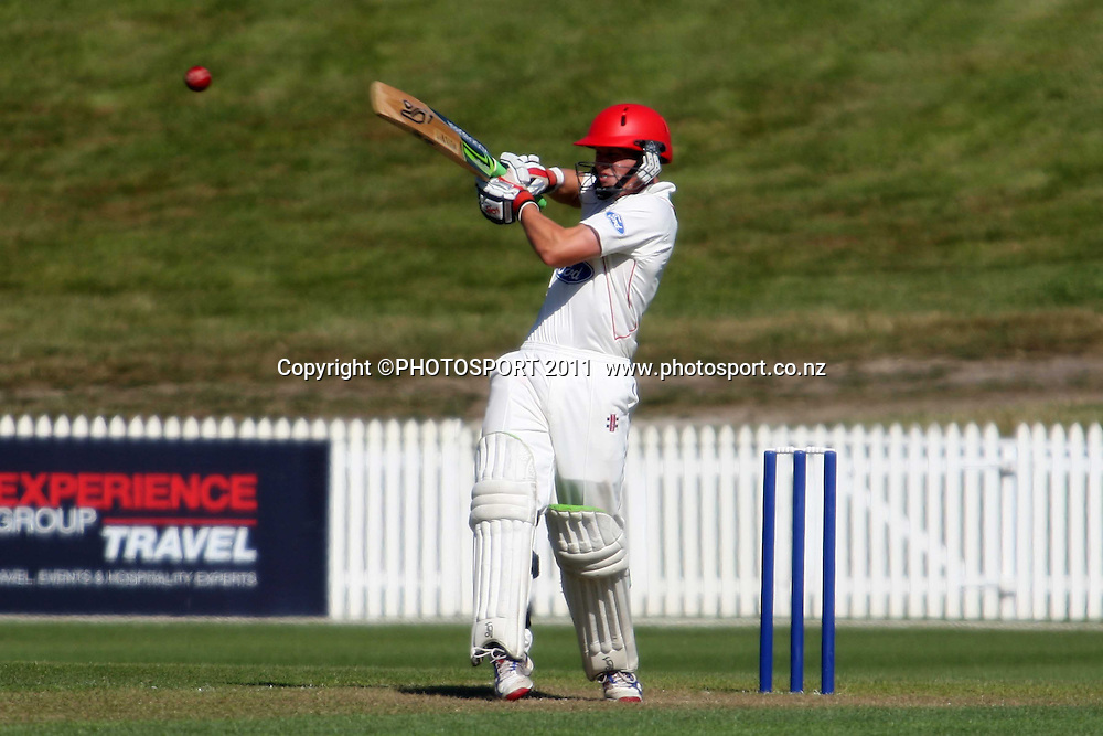 Henry Nicholls picks up a short and clears it to the fence for four runs, during the plunket shield cricket match between the Northern Knights and Canterbury Wizards . Domestic 4 day cricket, Seddon Park, Hamilton. 29 November 2011. Photo: Dion Mellow / photosport.co.nz
