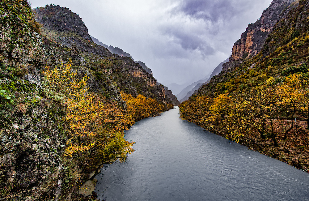 River in the autumn canyon