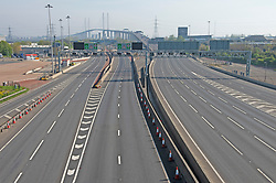 ©Licensed to London News Pictures 10/04/2020  <br /> Dartford, UK. An empty Good Friday Dartford Crossing in Dartford, Kent today due to the Coronavirus lockdown. Photo credit:Grant Falvey/LNP