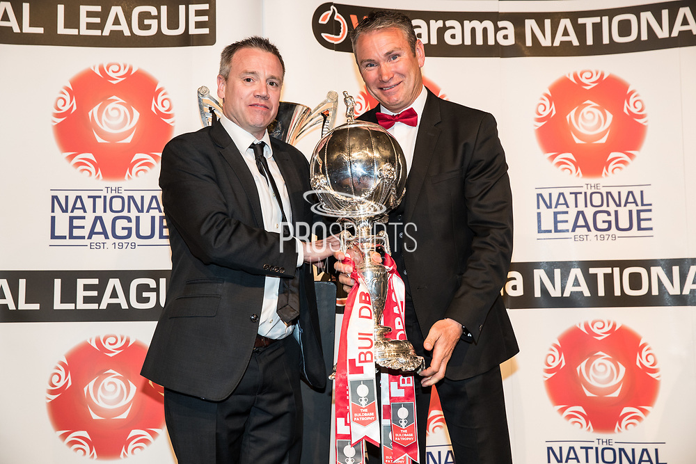 Brackley Town, Kevin Wilkins receives the FA Trophy during the National League Gala Awards Evening at Celtic Manor Resort, Newport, South Wales on 9 June 2018. Picture by Shane Healey.