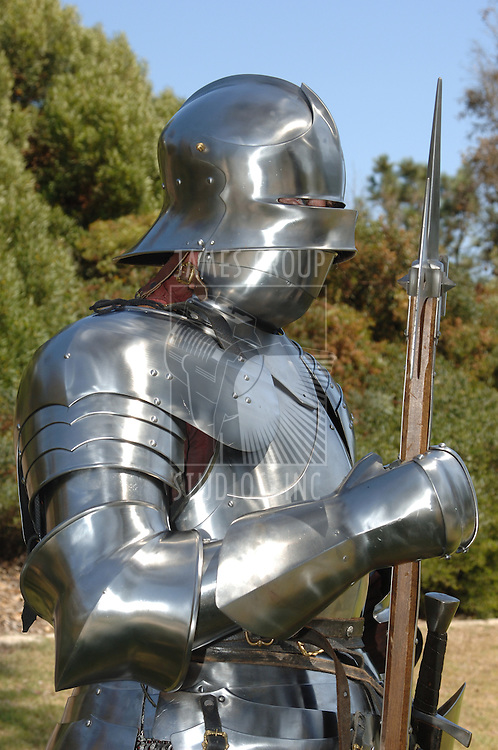 Medium side shot of a 15th century English knight in armour