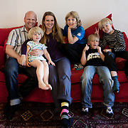 Södra Station co-housing in Stockholm,  Sweden, August 27, 2012. Castor family with friends. From the left Martin & Joanna Castor, Sofia Rickberg, Noam Hagberg Malmqvist, Max Rosling, Jonathan Castor. <br />