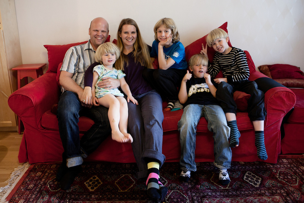 S&ouml;dra Station co-housing in Stockholm,  Sweden, August 27, 2012. Castor family with friends. From the left Martin &amp; Joanna Castor, Sofia Rickberg, Noam Hagberg Malmqvist, Max Rosling, Jonathan Castor.&nbsp;<br /> Sodra Station has 63 flats and in 2012 celebrated its 25th Anniversary.